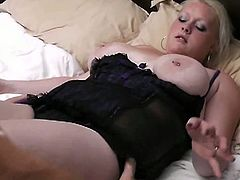 This chubby blonde has her snatched fingered hard and then screwed hard by this guy's throbbing cock.