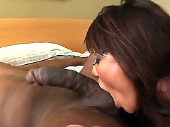 Tempting one of a king asian milf Ava Devine with heavy make up and big juicy tits gets her face fucked rough by randy black bull Prince Yahshua with monster cock.