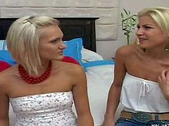 Nikki, Jane and Cali are three tender blondes that strip in front of each other before they have group lesbian sex. Tender girl with small perky boobs strips down to her thong and gets caressed.