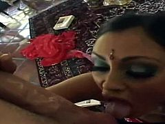 Kinky wondrous Indian blowlerina is surely a great expert in giving a solid blowjob for sperm. Bitchie nympho with nice boobs stands on her knees. Ardent filth with heavy makeup does her best while sucking a delicious fat lollicock for sperm right at home.