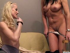 Couple of sexy blonde and brunette hussies ardently lick each other's sweet shaved pussies and then show their sucking skills by blowing fresh bananas.