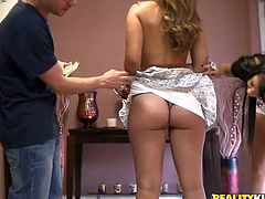 Reality Kings sex clip gives a you a chance to observe the way to horny gals seduce a man. Slutty blondie pull up short skirt and show her not bad rounded ass. Brunette gets rid of top and shows droopy tits. I bet these whores thirst for threesome tonight.