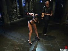 Brunette bombshell Jenaveve Jolie is having a good time with Mark Davis in a bedroom. She lets Mark tie her up and then takes an ardent ride on his stone-hard manhood.