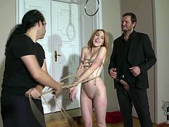 She is naughty redhead chick with fetish for sex with restraint elements. So she turn on when the guy ties her up tight.