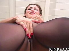 Amazing solo girl fingers horny pussy through tight pantyhose
