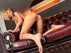 Slender provocative glamorous brunette Betty Stylle with long sexy nails and tight ass in high heels only fingers her pierced minge and stuffs it with large glass dildo to orgasm.