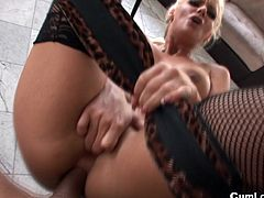 Slutty blonde with big tits enjoys huge dick smashign her ass in RPG anal core