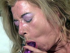 Don't think that because she's a mature now Tanya forgot about sex. She's even hornier then she used to be in her youth and wants to shows us. The pierced nipples blonde mature grabs her dildo and gives it a suck while rubbing her pussy. Wonder if she will fill herself up with it? Keep her some company and find out