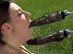 She is luscious brunette bitch with sexy body. She plays dirty games in the garden involving tough sex machine. She is double penetrated with two long sex tools. Fucking filthy porn video presented by DDF Network.