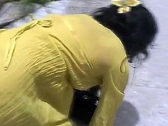 Sexy Asian babe in yellow outfit Bella gets horny and masturbates in a public solo scene