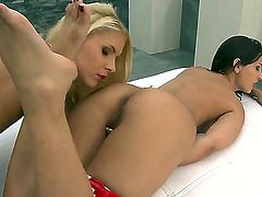 Eve Angel is in heat in girl-on-girl action with lovely Brandy Smile