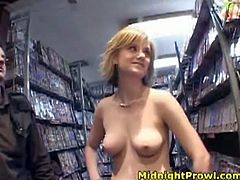 Kinky and voracious blond head is in the sex shop. Kinky gal with noce bad tits bends over to demonstrate her wet pussy, which hasn't been drilled for a while. Ardent nympho with nice butt acts weird, but she's surely worth checking out in Pornstar sex clip to jerk off and jizz.