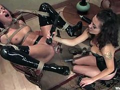 Hot chick in latex housemaid uniform gets bounded. After that she gets her ass fingered and toyed. In addition she gets tortured with electricity and gets toyed hard with a strap-on.