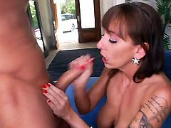 Cheating slutty milf Alia Janine with big juicy knockers and beautiful blue eyes gives titjob to her handsome neighbor and gets her tight ass licked good on a lazy afternoon.