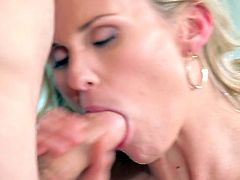 Watch the alluring and busty blonde temptress Laura Crystal devouring her man's dong in this hot video. Then she's ready for her sweet pussy to be banged balls deep into a breathtaking orgasm.