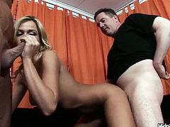 Blond haired slut is surely versatile slut. Threesome is what lewd lady loves the most of all. Kinky gal with nice rounded ass and sweet tits is fond of riding and sucking dicks. Her mouth is busy with giving a solid blowjob for sperm while zealous slim bitch rides the other dick passionately.