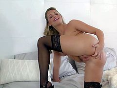 Mia Malkova is a good looking babe in black stockings. Chick in nylons opens her legs and puts her fingers on her snatch. She rubs her trimmed pussy with big desire, Watch Mia Malkova have fun alone.