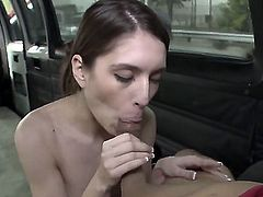 Young amateur brunette Zarena Summers with natural boobs and french manicure gives head to dirty dude in bang buss gets fucked in the ass balls deep in close up.