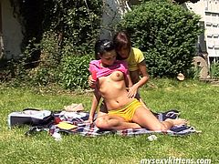 There's no other hobby for these slim buxom brunettes than pleasing each other's wet cunts. Slim country gals usually take a dildo, when they go for a picnic. Horny chicks wanna reach orgasm by drilling each other's wet pussies with a sex toy right outdoors.