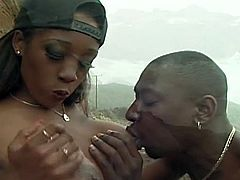 Super big black cock in hot wet black pussy.Great black on black video with lots of pussy licking and fucking hardcore outdoor action.