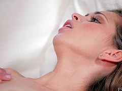 She spreads her legs wide and gets her sweet pussy drilled hard in missionary pose and then she gives her lover a nice blowjob.