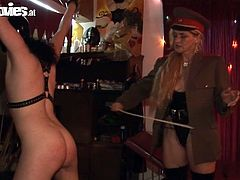 See a wild blonde milf mistress torturing her slave's cock in this amazing bdsm video. The party is definitely getting out of control here!
