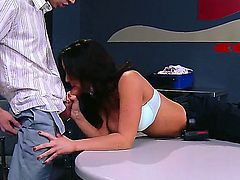 Danny D bangs Jayden Jaymes with big jugs in her mouth as hard as possible in steamy oral action