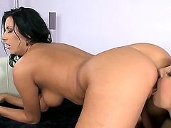 Pretty blonde babe Brandy Smile with natural boobs and slim sexy body in high heels only gets her hairless honey pot stuffed with vibrator by black haired dominant Melissa Ria.