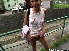 Skinny Sue shows her titties and pussy to some dude in public place. After that she gives him a blowjob standing on her knees and gets facialed.
