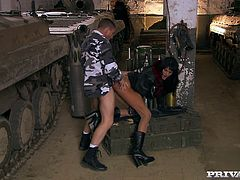 Hot blonde chick Sarah Twain is playing dirty games with some guy in a garage. She gives him a blowjob near a tank and then welcomes his schlong in her butt.