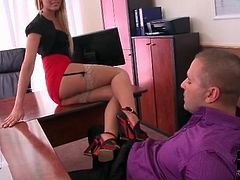 Secretary is perfect in stockings and short skirt