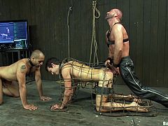 Three kinky hunks engage in some pretty intense bondage sex scene, male on male, hit play and check it out right here! It's hot!