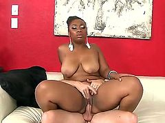 Cheep full figured black bitch La Regina with heavy make up and big natural tits gives head to pale handsome Tony Rubino and rides on his stiff cock to loud orgasm.