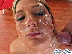 Having lots of loads filling her face turns blondie into a real slut