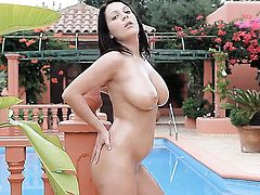 Lailda does striptease before she masturbates with desire