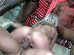 Young slender blonde slut Kaylee Hilton with firm medium hooters and soft milky skin gets demolished by bunch of black bulls with long rock hard cocks in close up