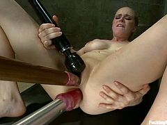Superb Penny Pax takes a dildo in her ass and pussy
