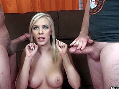 Busty hot tempered blond babe gets lured by two horny daddies. She sits between them on the couch while they rub her fresh pussy and later force her to give them double blowjob in spoiled threesome sex video by Pornstar.