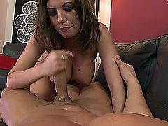 Donna Bell has big beautiful breasts and they are real. Watch her suck a mean dick and then take it in the ass like a champ, here on Saboom.