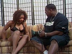 Seductive ghetto hoochie with a big juicy ass Michelle Tucker gets her black shaved pussy rammed by huge BBC. Check her cock riding skills dude, that bitch is hot!