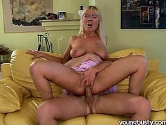 She is a sweet and extremely hot blonde milf with elastic asshole. She rides this man with her anus and switches to the pussy pounding.