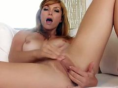 Heather Vandeven is one hot redhead that likes to get off, even when there is no cock around to satisfy this sexy babe, she knows what she likes and can caress her pussy to orgasmic pleasure.