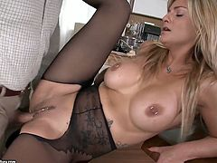 Extremely seductive blondie with big succulent boobs wants her man's dick in her mouth, pussy and asshole. So when she is presented with his big meat pole babe can't resist trying it out. She pleases him with a blowjob and then she speads her legs wide for missionary style pounding. After a while he pounds her tight asshole in doggy pose making her big tits swing from side to side.