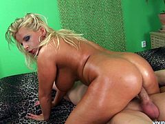This plumpy juicy blonde babe is Lucie. She is an excellent cock rider and gives amazing titjob with her huge greased up boobs.