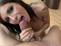 The sexy tattooed MILF Alyiah Stone is on her knees happily enjoying a cock, sucking it as it was a candy stick and hoping for the jizz.
