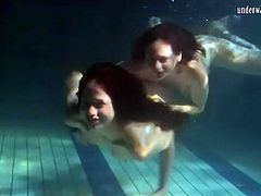 Underwater workout and fun with two beauties