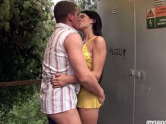 Lucy is trashy Russian wench with insatiable lust. She seduces the guy outdoor and fucks him right them. Standing along the wall she gets penetrated in her cunt from behind. The guy rams his dick deep in vagina so she moans wild with pleasure.