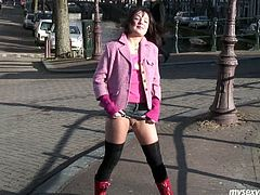 Torn slut Terry is horny exhibitionist. She loves exposing her privates in public places. So she flashes pussy upskirt standing in the middle of the street. Later in a dirty XXX porn video, she gets her pussy rubbed fucking in the forest.