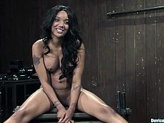 Get a load of this ebony babe's amazing body in this great bondage video where she endures pleasuring pain while being masturbated with a vibrator.