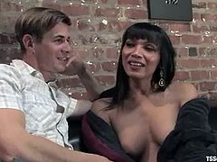 Mark Frenchy and salacious tranny Yasmin Lee kiss and pet each other and get horny. Then Yasmin slides her cock into Mark's butt and fucks it remarcably well.